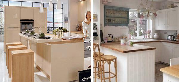 Šank između kuhinje i sobe – oblici i dimenzije