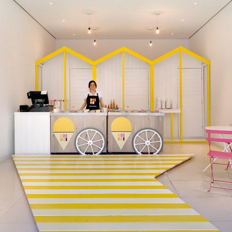 Enterijer italijanske prodavnice sladoleda