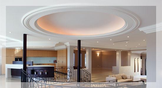 گچبری ساده سقف پذیرایی و اپن آشپزخانه ساختمان +عکس