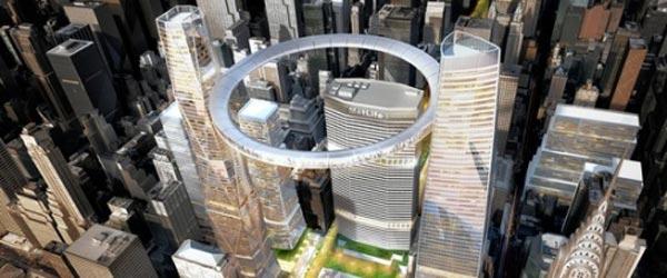 Prstenasti plutajući vidikovac između dva nebodera u Njujorku