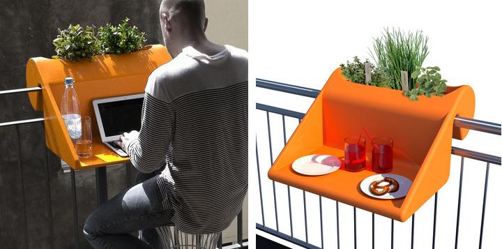 Kancelarija na balkonu: Stolić okačen o ogradu