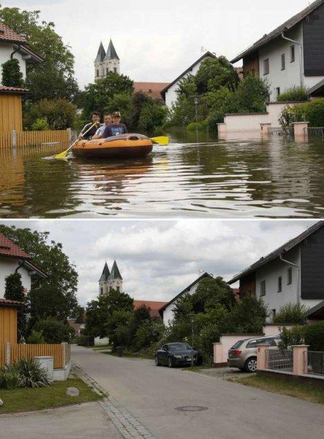 Gornja fotografija: Čamac na poplavljenoj ulici u selu Nideraltajh kod Degendorfa, snimljen 6. juna. Donja fotografija: Isto mesto snimljeno 23. juna