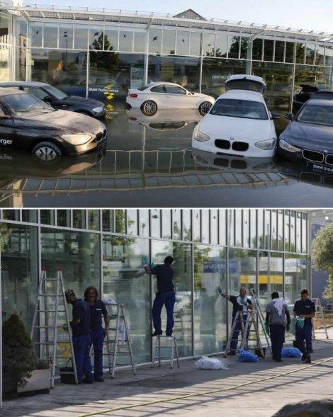 Radna akcija: Isti salon automobila pre poplava i tokom radova na uklanjanju posledica nevremena
