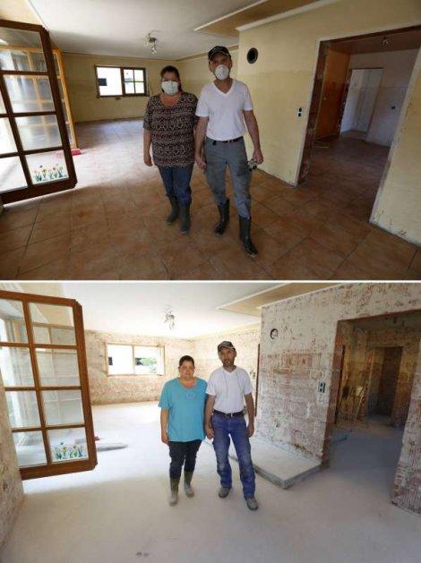 Manuela i Herbert Šmid u dnevnoj sobi svoje kuće 12. juna (gore) i 21. juna (dole), nakon što im je poplava uništila kuću