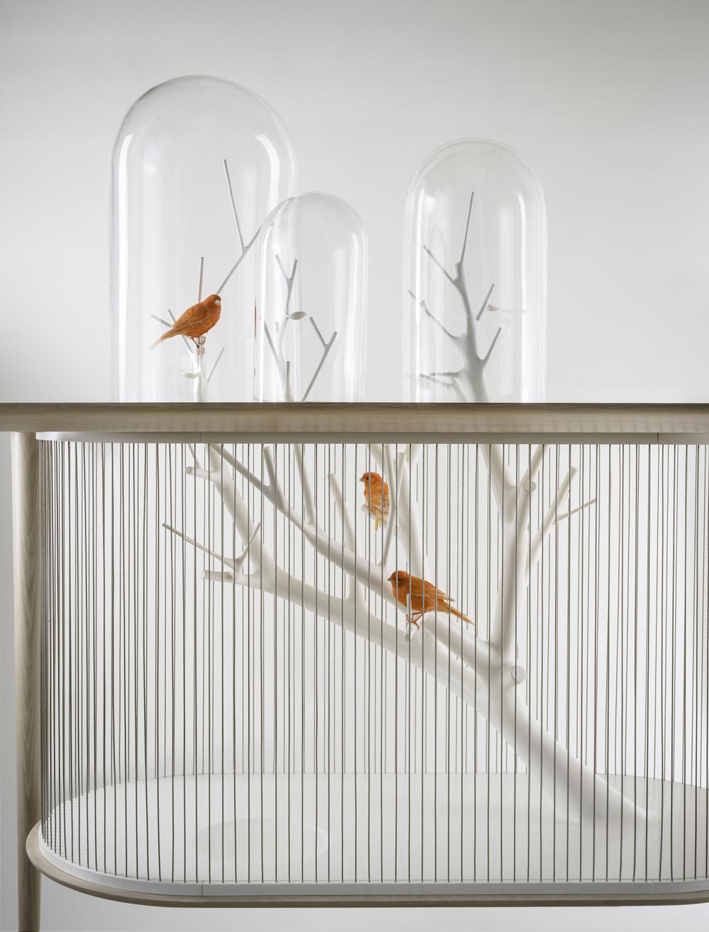 Rad uz cvrkut ptica: Kavez sa pisaćim stolom