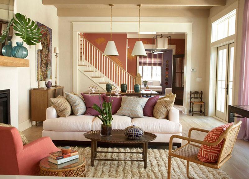 Koloritni enterijer koji spaja dnevnu sobu i kuhinju - Furnish decorador de interiores ...
