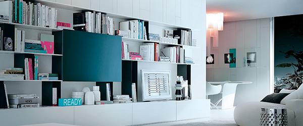 Uređenje dnevne sobe: prostor za knjige