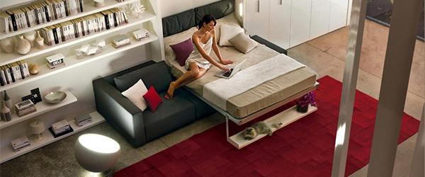 Krevet u dnevnoj sobi: rešenje za male stanove