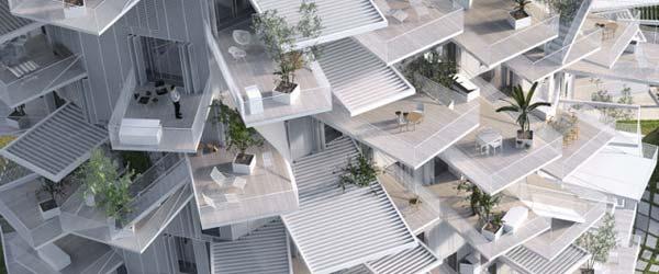 Zgrada u obliku drveta s terasama poput grana