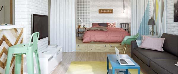 Pastelni stan od 45 kvadrata koji deluje prostrano