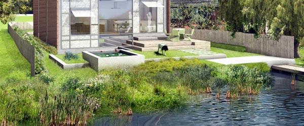 Amfibijska kuća koja pluta po vodi