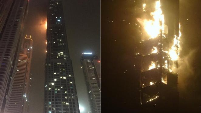 Spektakularni požar u Dubaiju u zgradi zvanoj Baklja