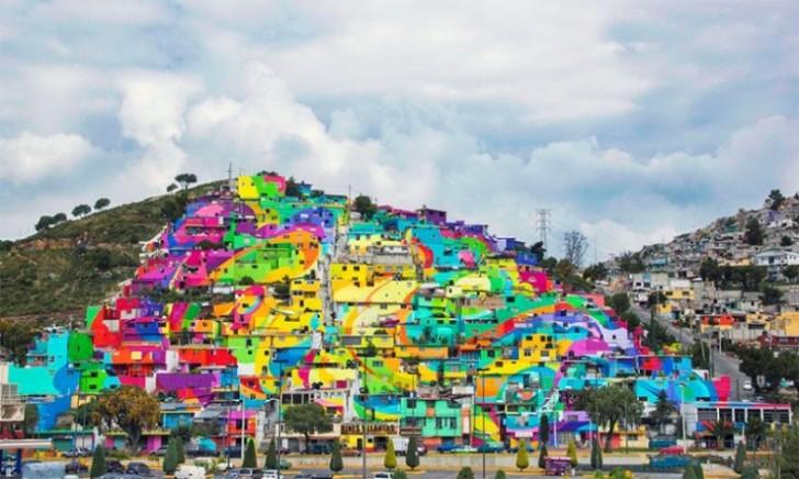 Život iza duge: Cela četvrt tretirana kao platno za mural