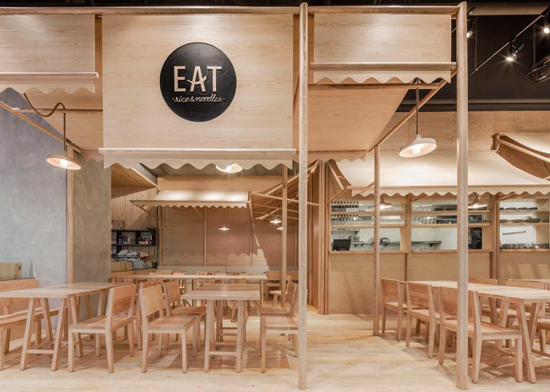 Restoran u kojem je i tenda izvedena od drveta