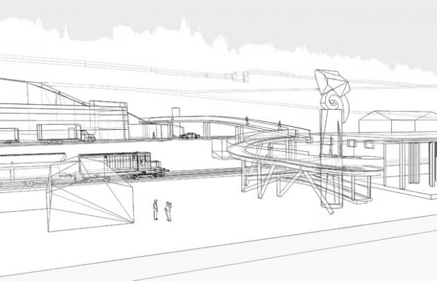 Skica pešačkog mosta, studio Mitarh