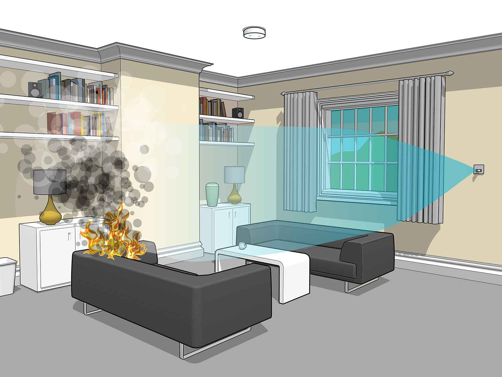 Automatizovani sprinkler sistem koji prska samo u smeru vatre