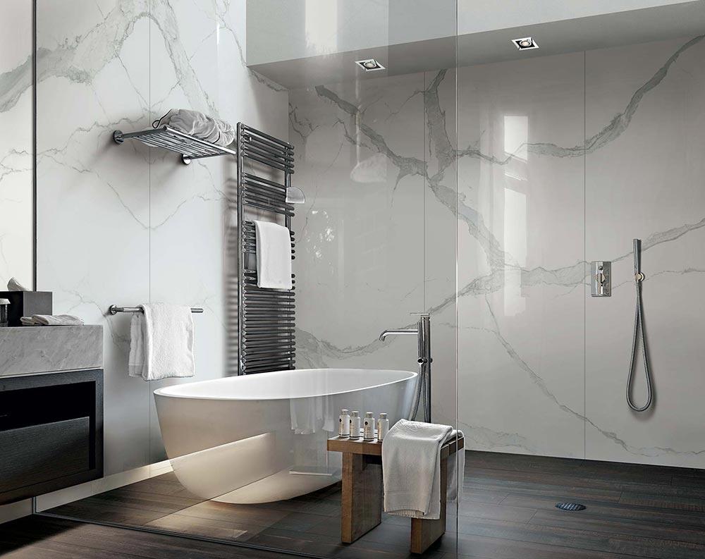 ideje za ure enje kupatila plo ice sa izgledom mermera. Black Bedroom Furniture Sets. Home Design Ideas
