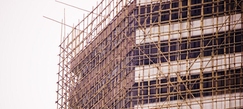 Skela od bambusa za izgradnju oblakodera u Hong Kongu