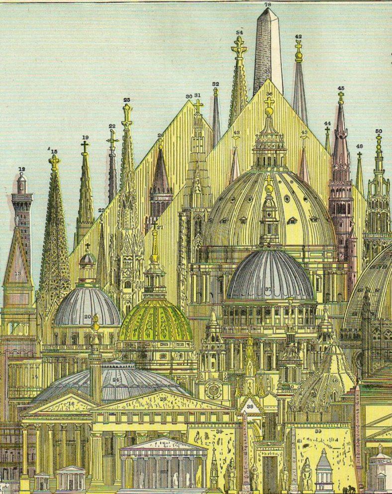Pogledajte crtež najviših zgrada Starog sveta