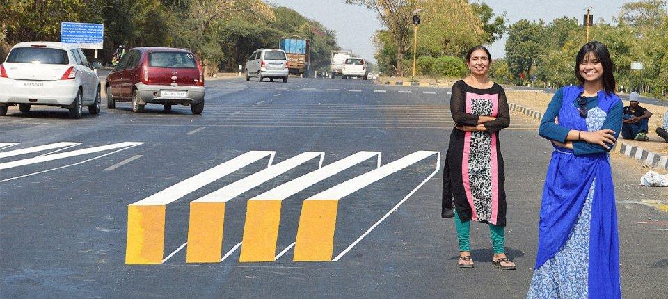 Kako optičke varke štite pešake u Indiji