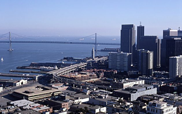 Foreground: Embarcadero Skyway. Center: Ferry Building. Left