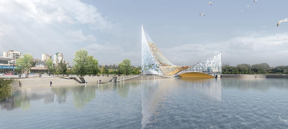 Rusi grade kongresni centar preko reke u obliku jedra