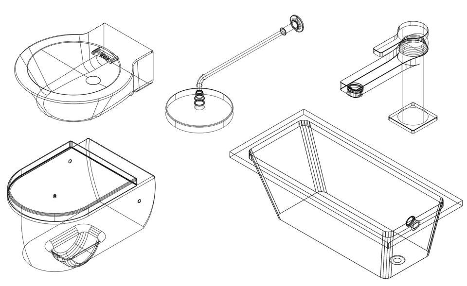 Preuzmite besplatno CAD blokove slavina, WC šolja, umivaonika i tuševa