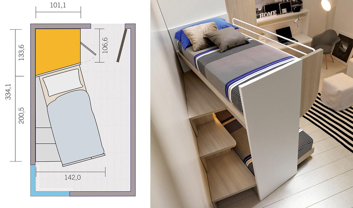 Rešenje za male sobe: Dva kreveta i ormar u 8 kvadrata