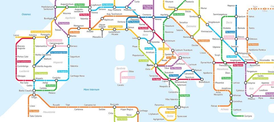 Rimski putevi predstavljeni kao mapa podzemne železnice