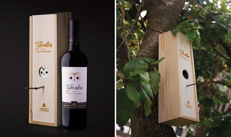 Ovo drveno pakovanje za vino može se koristiti i kao kućica za ptice