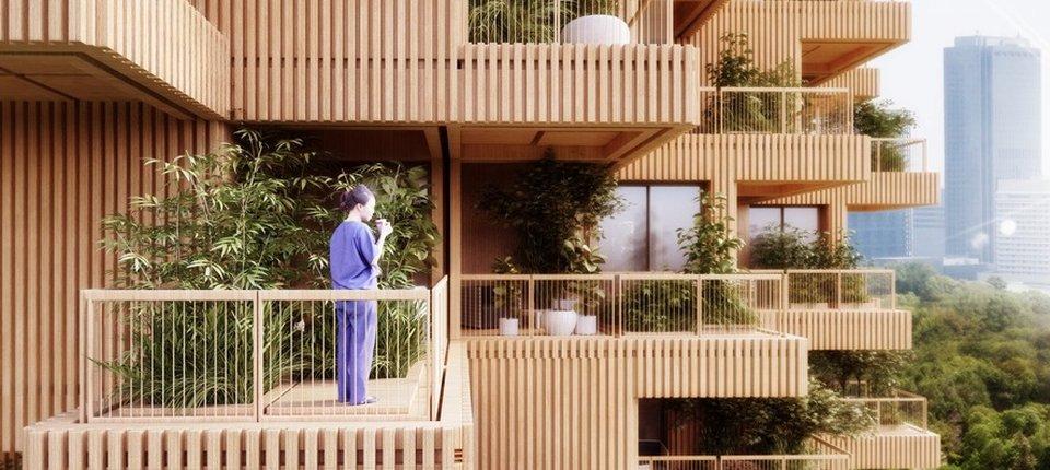Svaki stan u ovoj drvenoj kuli ima na terasi po jedno stablo