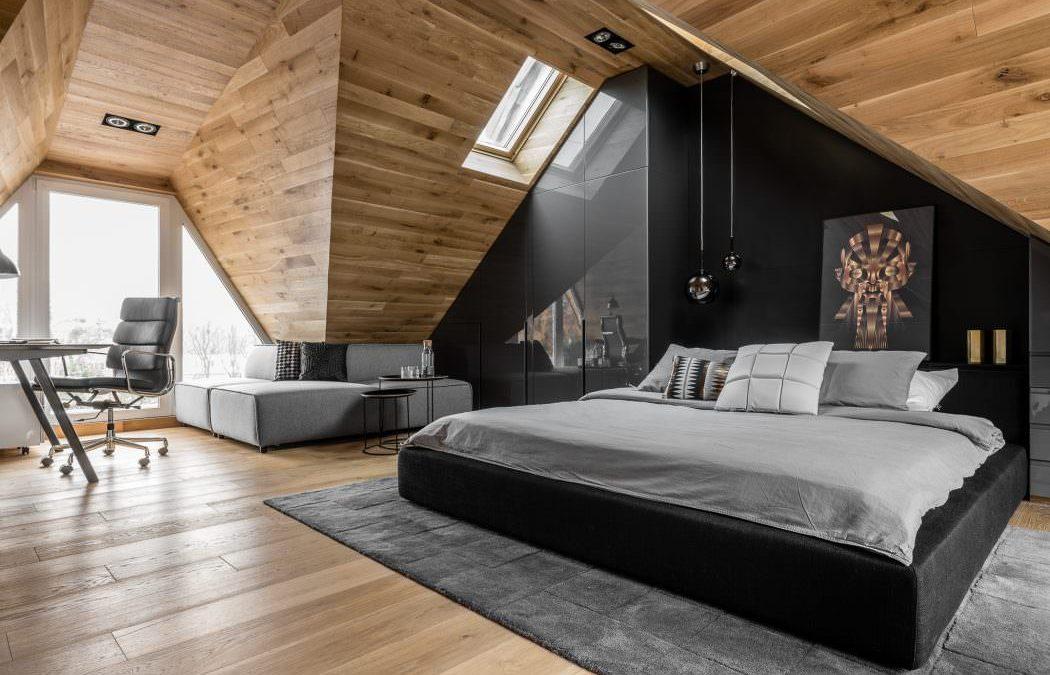 Muška spavaća soba skrivena u potkrovlju