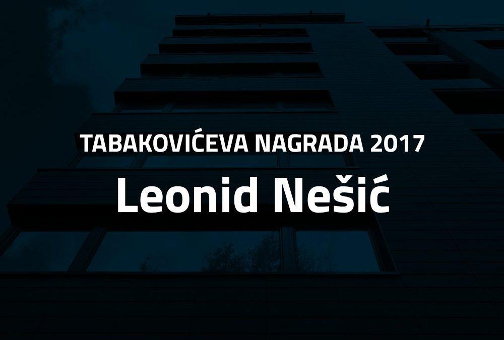 Leonid Nešić dobitnik Tabakovićeve nagrade 2017.