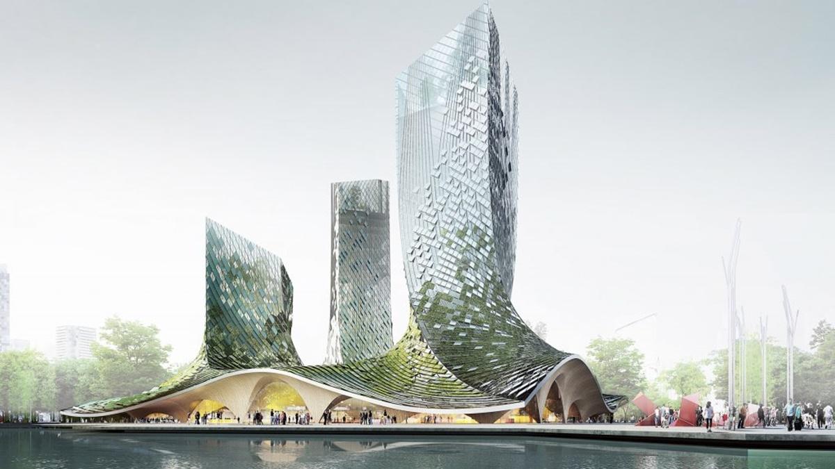 Bio-fasada obložena algama pruža odličnu izolaciju na ovoj zgradi u Kini