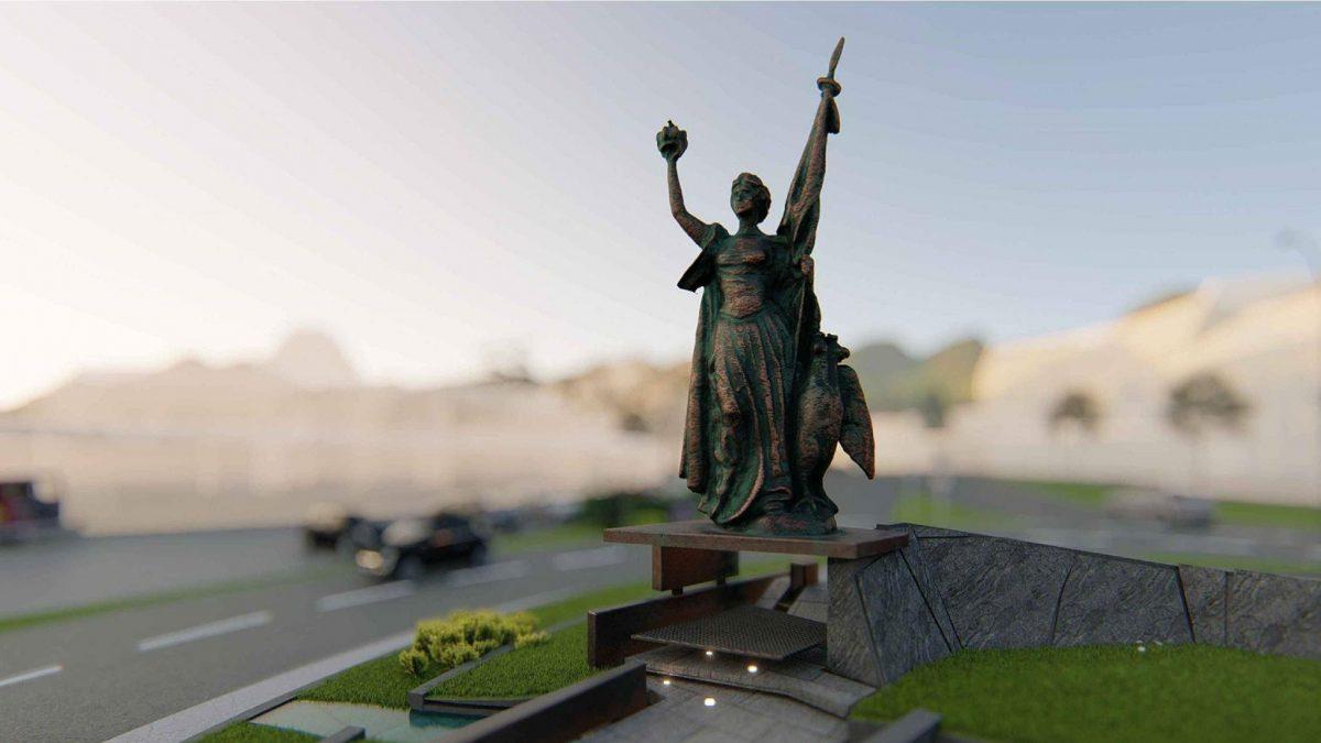 Skulptura Velike Srbije u Užicu sa ženom kao simbolom nacije