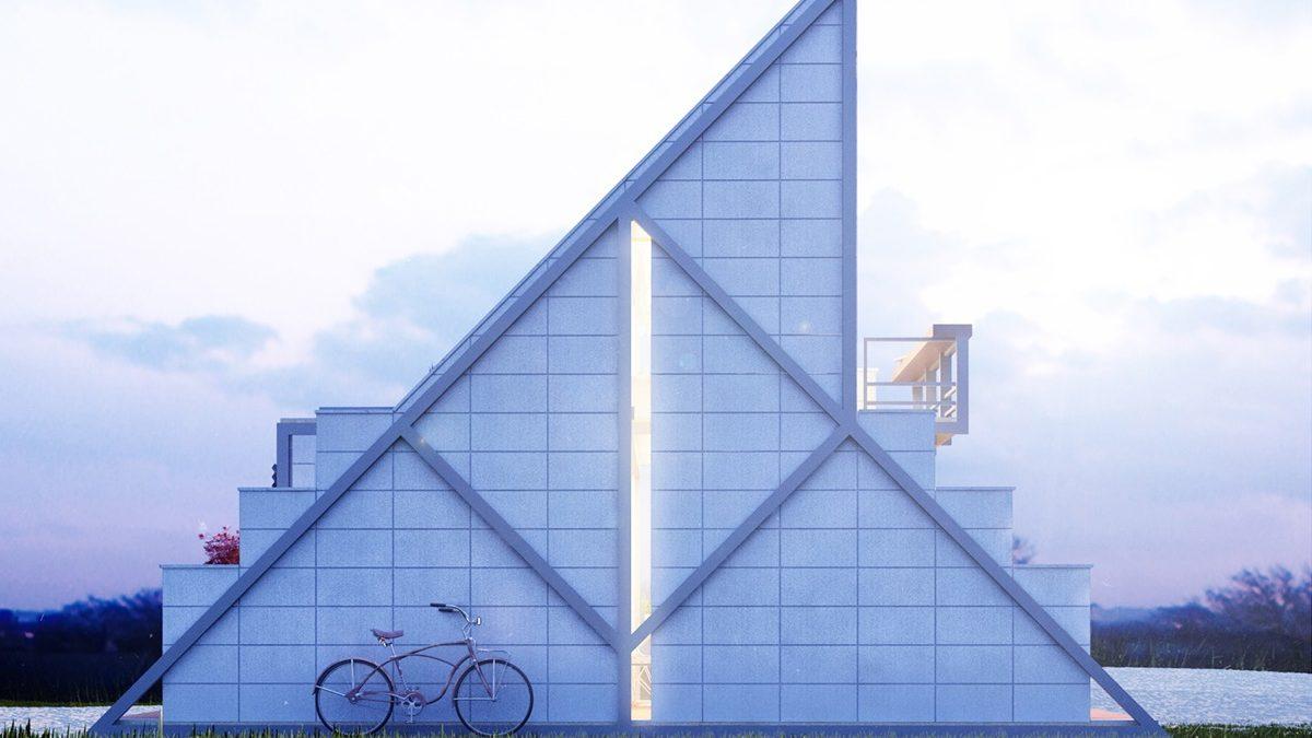 Trouglasta kućica od prefabrikovanih betonskih blokova
