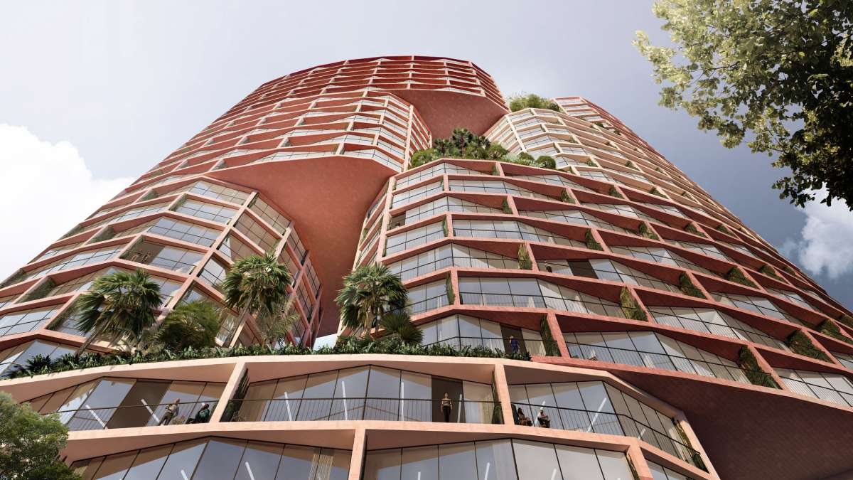 Riblja kost na crvenoj fasadi novog vertikalnog grada