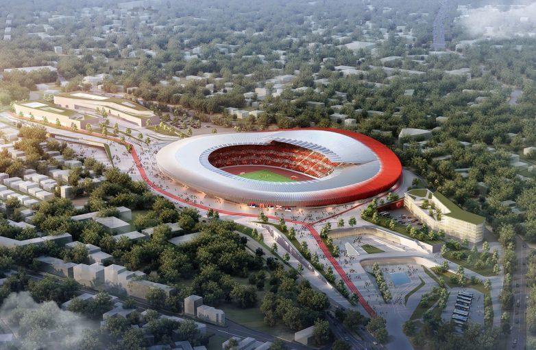 Pogled na pobedničko rešenje stadiona CZ iz vazduha