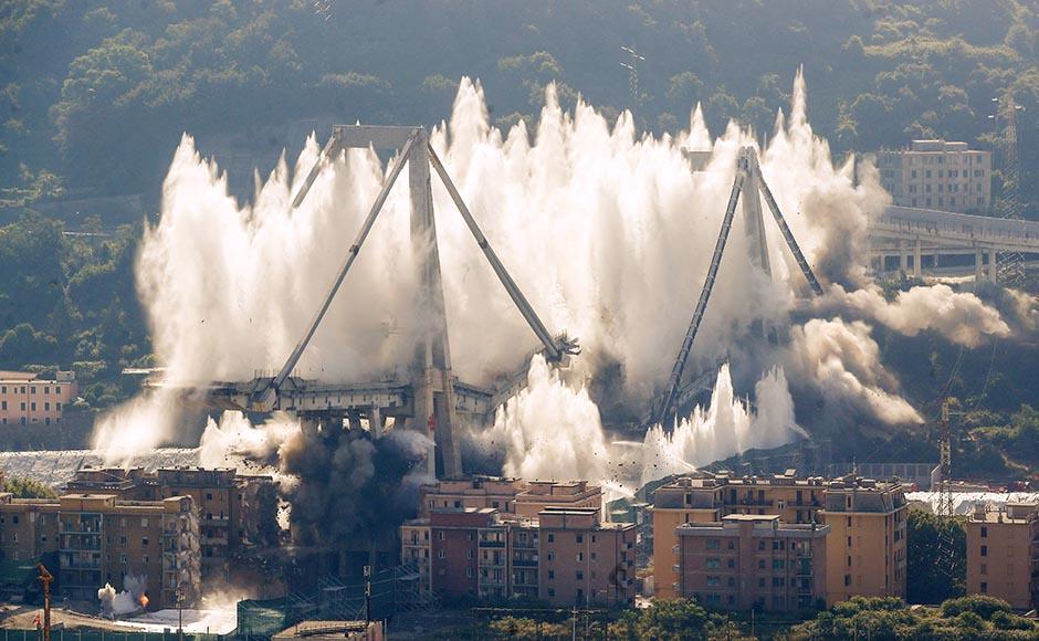 Srušen preostali deo mosta Ponte Morandi u Đenovi (VIDEO)