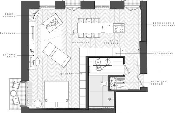 Osnova AM Apartment, INT2architecture (2016), Moskva