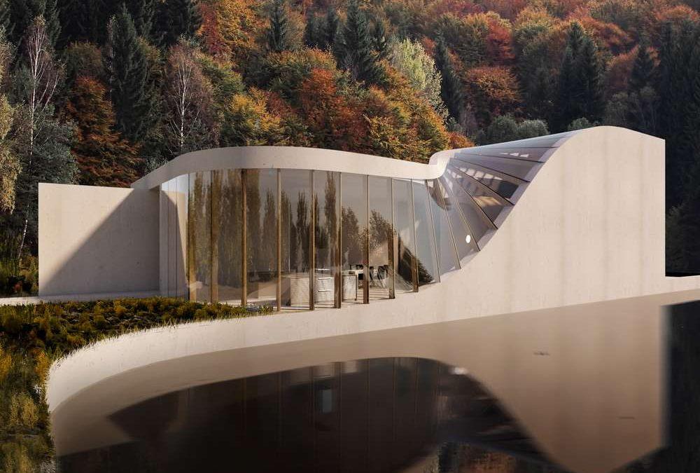 Stakleni zid postaje krov na ovoj kući dinamičnog oblika