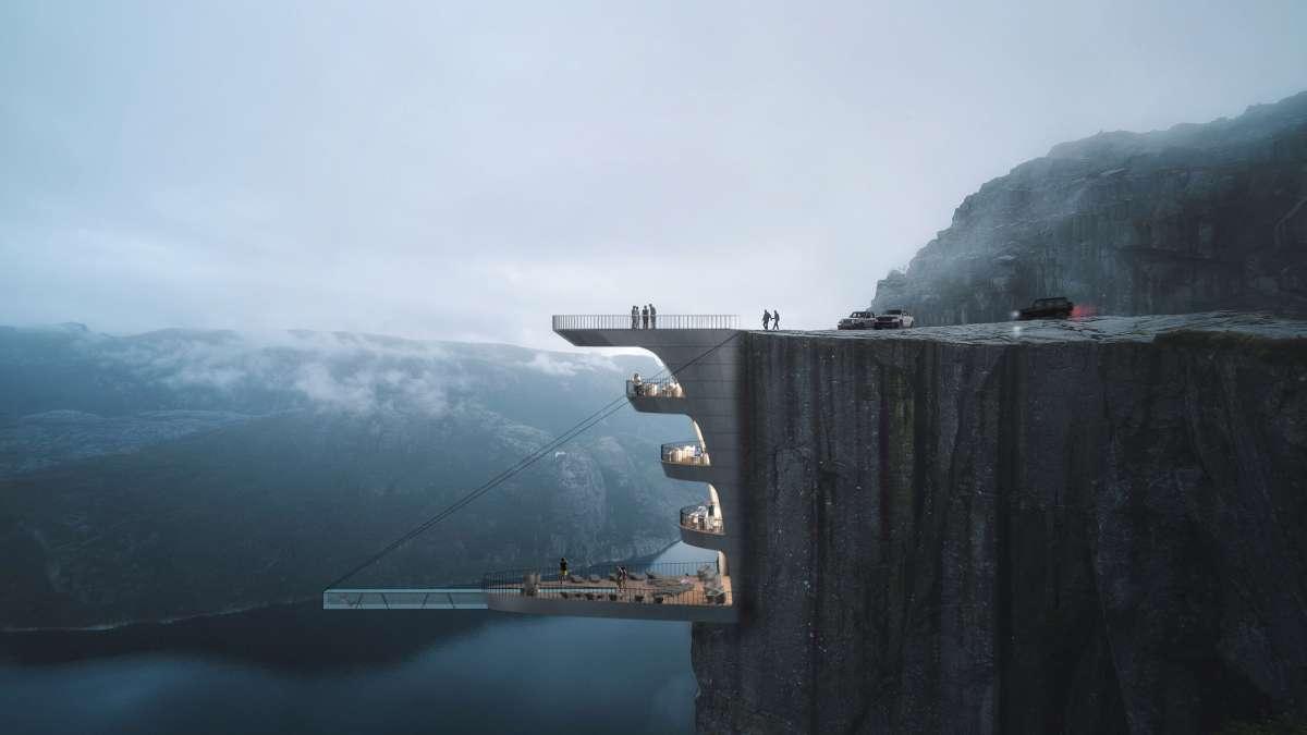Dramatičan hotel na litici s konzolnim bazenom nad provalijom