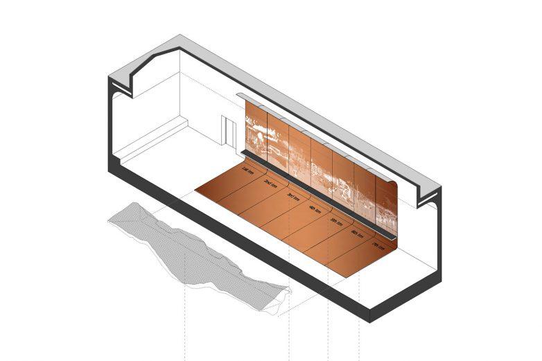 Aksonometrijski prikaza paviljona Srbije na 17. Bijenalu arhitekture u Venecije; Ilustracija: MuBGD