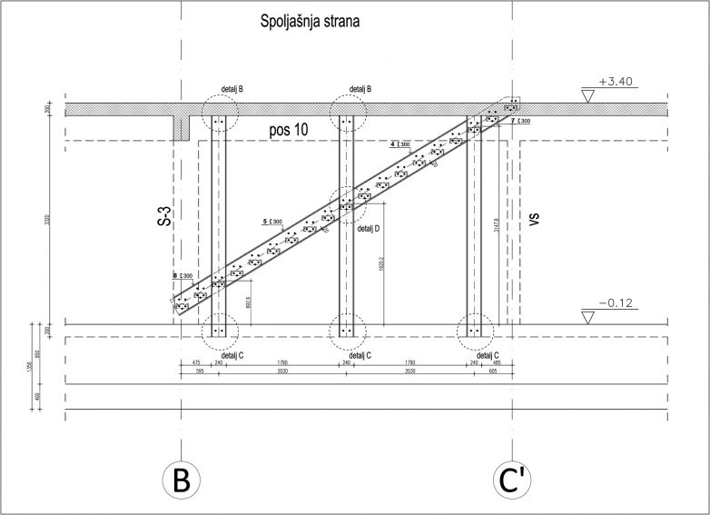 Detalj konzolnog stepeništa